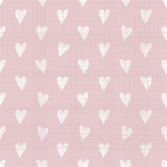 seamless doodle hearts pattern with fabric texture