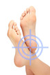 Female feet, white background, footcare concept