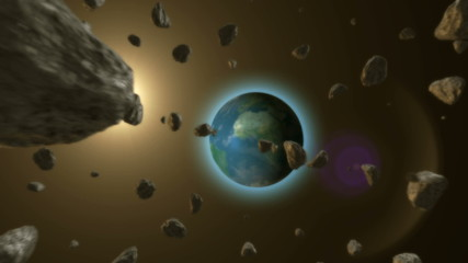 3d Meteor and earth