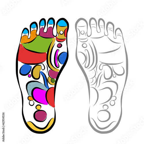 Foot massage reflexology, sketch for your design
