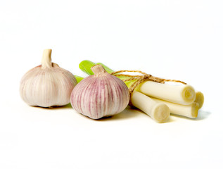 heads and young stems of garlic