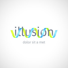 Optical illusion concept, abstract logo template