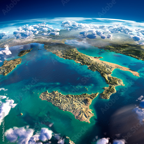 Fragments of the planet Earth. Italy and the Mediterranean Sea