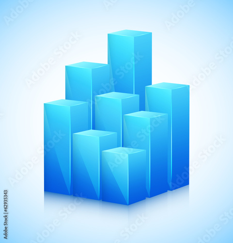 3D cubes in blue color