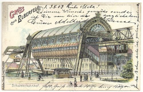 Leinwandbild Motiv Gruss aus Elberfeld, Schwebebahnhof 1903 (hist. Postkarte)