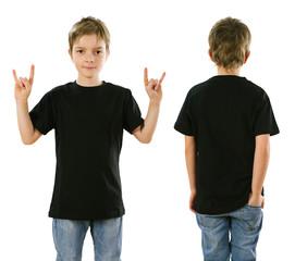 Young boy wearing blank black shirt