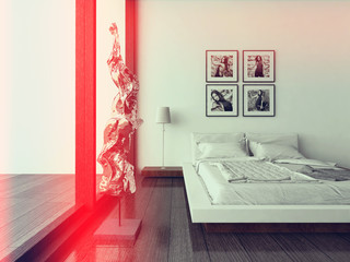 Nice bedroom interior with modern furniture and cozy bed