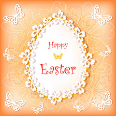 Easter card with egg and flower.