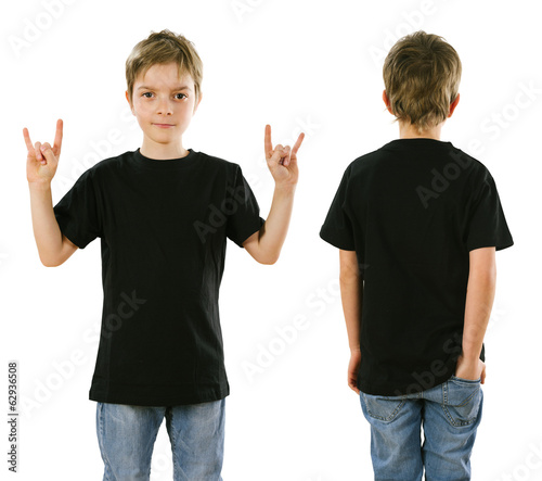 Young boy wearing blank black shirt