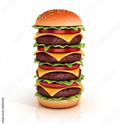 hamburger tower 3d illustration