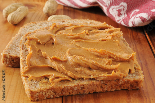 Peanut butter on whole grain bread