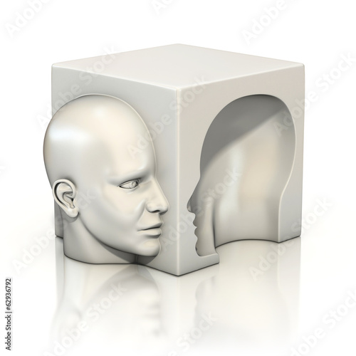 alter ego, psychology, abstract human head 3d concept