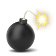 Burning  black bomb isolated on white background
