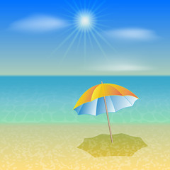 Vector illustration of sunny sea beach with umbrella