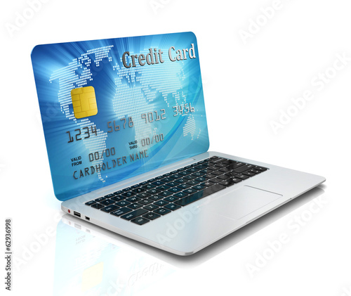 e-commerce, online shopping - laptop and credit card