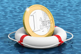 Euro coin on the water lifebuoy
