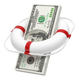 Wad of money in lifebuoy isolated on white background. Concept
