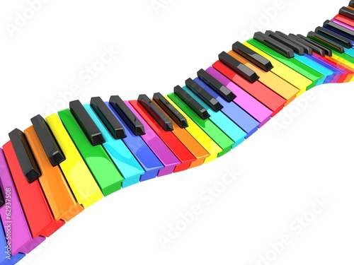 colorful piano keyboard wave
