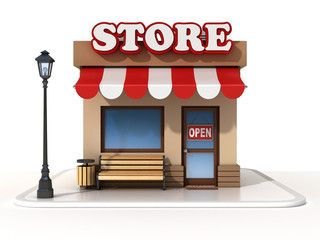miniature store 3d illustration