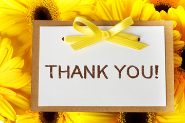 Thank you card with yellow gerberas