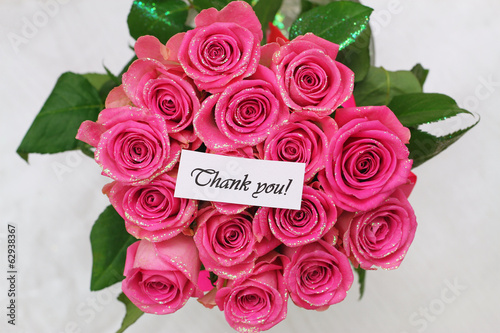 Thank you card with pink roses bouquet