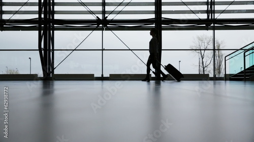 Traveler in airport terminal