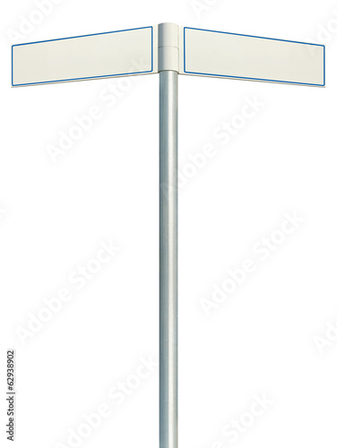 Direction road signs, two empty blank signposts, isolated