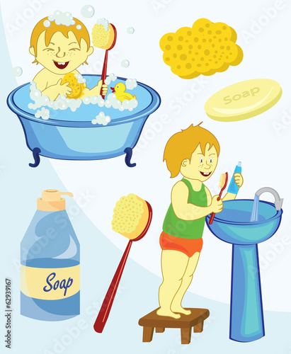 Bathroom Equipment icon set cartoon style