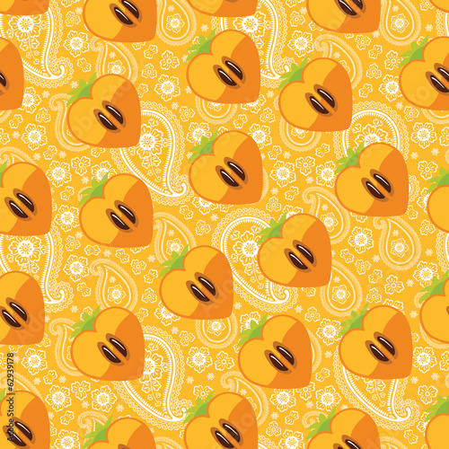 Seamless pattern of persimmon in Heart and Paisley