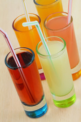 Refreshments, fruit drinks and juices in little glasses
