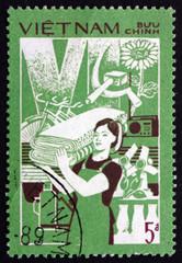 Postage stamp Vietnam 1987 Consumer Goods, Productivity