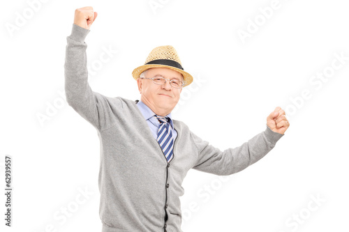 Old man gesturing happiness