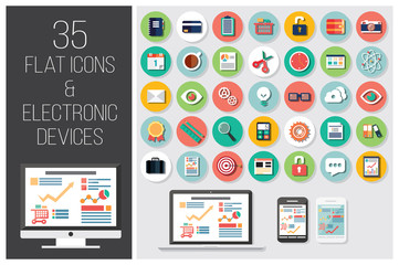 35 flat web icons and 4 electronic devices, vector illustration