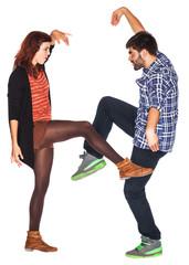 Funny couple dancing