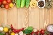Fresh ingredients for cooking: pasta, tomato, cucumber, mushroom