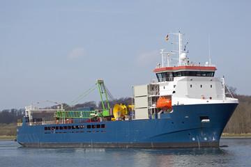 Stückgutfrachter auf dem Nord-Ostsee-Kanal, Kiel, Deutschland
