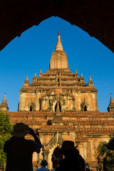 Facade of an ancient Buddhist temple in Bagan, Myanmar (Burma).