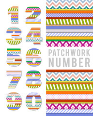 Numbers in patchwork style on a white background