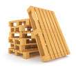 Pile of wooden pallets. 3d rendered illustration. Isolated