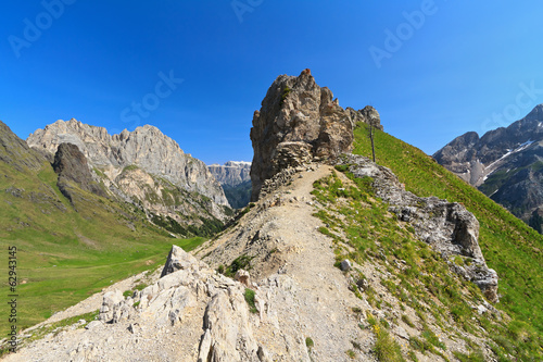 Dolomiti - small peak with trench in Contrin Valley