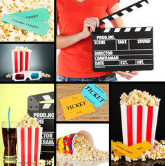 Collage of photos about cinema