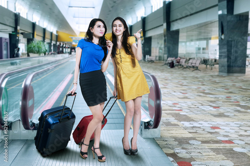 Two woman in airport