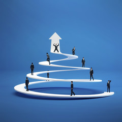Business people climb the spiral of success. Concept  career