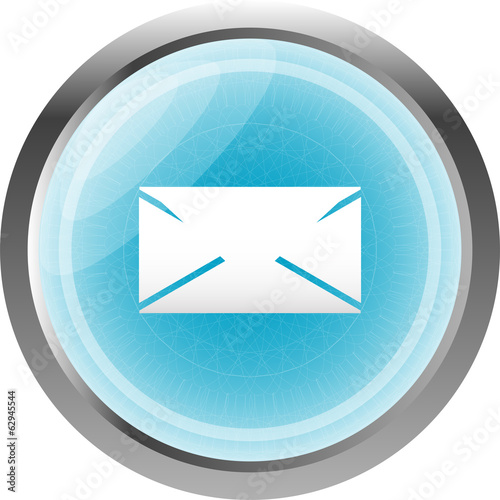 envelope icon glass, button isolated on white background
