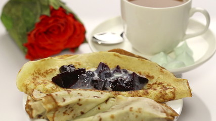 Breakfast with pancake and roses 2
