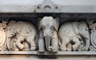 Stone carvings in Hindu temple Birla Mandir in Kolkata, India