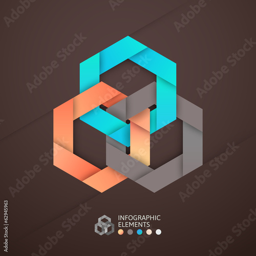 Modern business step origami style options banner