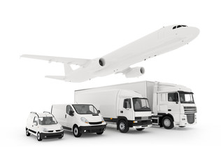 Cargo plane, truck, lorry and a delivery cars