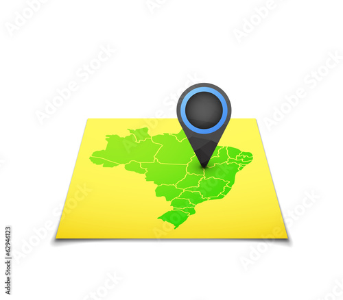 Map with a marker on Brazil