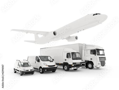 Aluminium Ruimtelijk Cargo plane, truck, lorry and a delivery cars